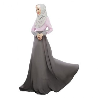 Harga Muslim Wear Women Baju Kurung Long Sleeve Dress L16016 Grey (EXPORT)