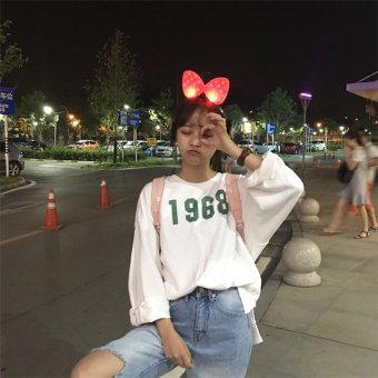 Harga South korea ulzzang harajuku style bf spring korean student tops long sleeve loose hedging round neck sweater female tide