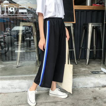 Harga 2017 summer New style College Wind Korean-style loose elastic waist side of the striped wide leg pants seven points casual pants female tide (Red striped)