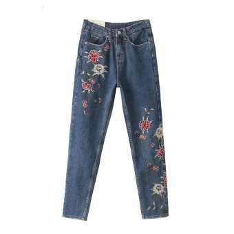 Harga Women Flower embroidery jeans female casual pants 2017 ?? blue?? - intl