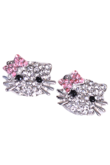 Harga Fancyqube Cat Silver Crystal Rhinestone Ear Stud Earrings Silver