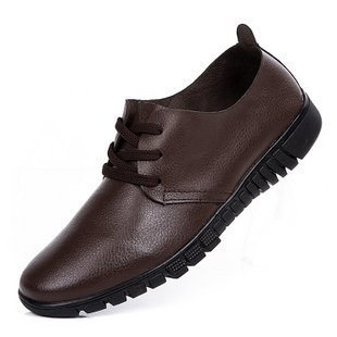 Casual shoes leather men's suit business men's leather shoes soft bottom soft dough round lace shoes black work shoes (Coffee color)