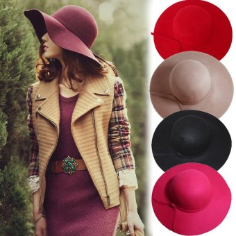 Harga HOT Retro Wool Hat Large Brimmed Lady Beach Hat Summer Cap Womens Accessories (ColorᆪᄎRed) - intl