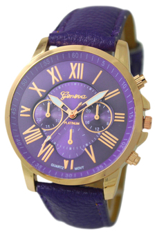 Harga Bluelans Geneva Roman Numerals Faux Leather Wrist Watch (Purple)