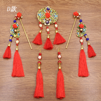 Harga Chinese bridal headdress tassel costume hair accessories Xiu clothing wedding coronet jewelry dragon and Phoenix gown accessories New Style (D paragraph full set ear hook + gift box + 4 hairpin)