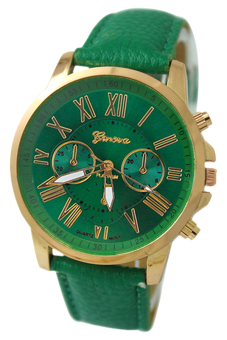 Harga BlueLans Geneva Roman Numerals Faux Leather Wrist Watch (Dark Green)