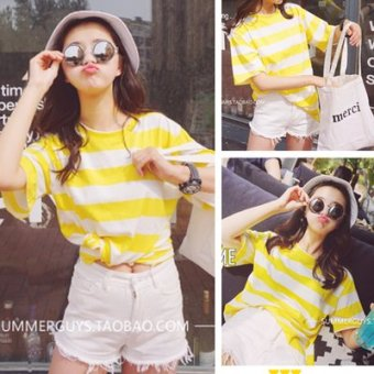 New korean ulzzang coarse yellow striped t-shirt female student influx of korean wild was thin round neck short sleeve t-shirt