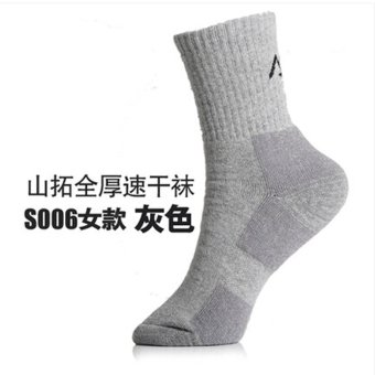 Harga Santo full thick COOLMAX hiking socks men and women socks buy 5 get one free (S006 women gray)