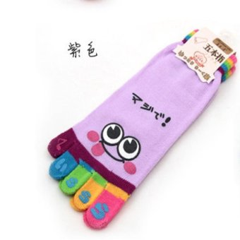Harga LALANG Cartoon Smile Face Five Toe Fingers Colorful Socks (Purple) - intl