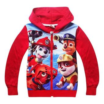 Harga 'Kisnow 3-10 Years Old Boys'' 95-135cm Body Height Cotton Cartoon Hooded Sweaters(Color:Red) - intl'