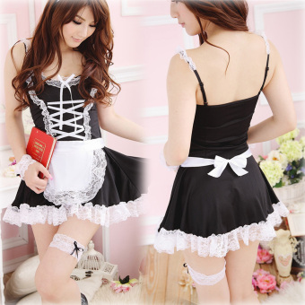 Harga Lingerie Black White Apron Maid Servant Lolita Dress