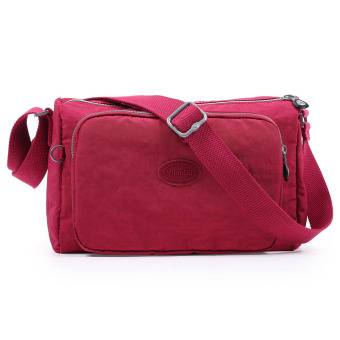 Harga Women casual nylon bag fabric 2017 New style summer female bag zipper shoulder messenger bag mother bag canvas bag (Deep pink)