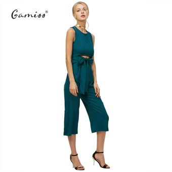 Harga Gamiss Woman Spring Summer Fashion Sexy Belt Corset Hollow Out Woman Wide Leg Jumpsuit(Army Green) - intl