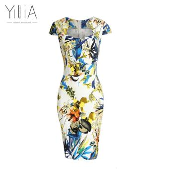 Harga yilia 2016 New Summer Flower Print Office Elegant Dress Casual Flower Midi Knee-Length Pencil Bandage Bodycon Work Dresses - intl