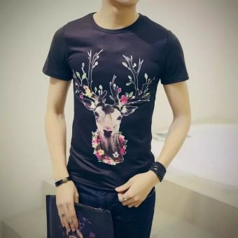 Harga 2016 summer new men's short sleeve t-shirt korean version of slim round neck short sleeve t-shirt men's clothing trend peony print (Sika deer black)