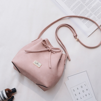 Stylish 2017 New style Korean-style small fresh drawstring bucket bag shoulder messenger bag casual female bag lady small bag (Pink)