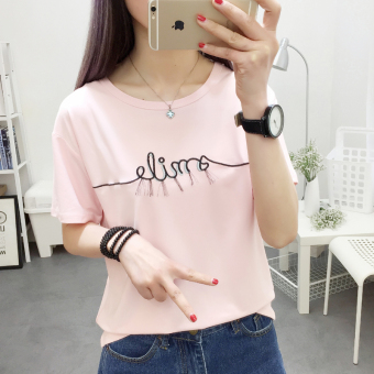 Korean version was thin loose shirt sleeve t-shirt female summer new wild student short sleeve casual shirt bottoming 2017 (8653 pink)