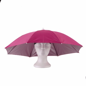 Harga Pink Portable Outdoor Sports 69cm Umbrella Hat Cap Folding Women Men Umbrella Headwear Handsfree Umbrella - intl