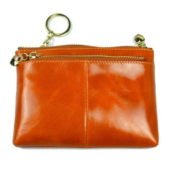 Harga WOMEN LEATHER ZIP COIN PURSE MINI MONEY WALLET KEY POUCH BROWN VERA PELLE ITALY