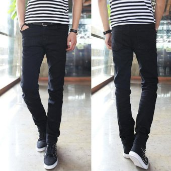 Harga Men's Korean Stretch Jeans Black Korean Slim Pants Men's Jeans - intl