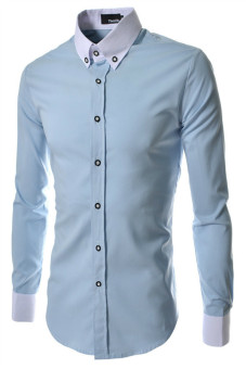Harga Reverieuomo CS29 Single-Breasted Shirt Sky Blue