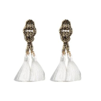 Harga Fancyqube Star Long Tassel Ear Stud Earrings Jewelry White