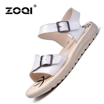 Harga ZOQI Fashion Women Leather Flat Sandals Light & Comfortable Sandals (White) - intl