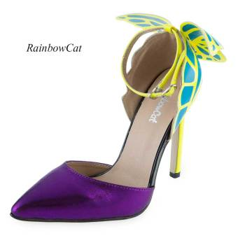 Harga Rainbow Cat Sexy Butterfly Design High Heel Leather Shoes(Purple) - intl