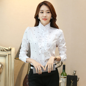 Harga White autumn lace long-sleeved chiffon shirt
