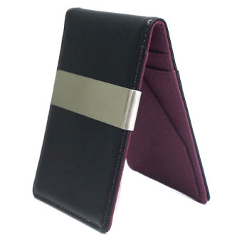 Harga Men's Faux Leather Metal Money Clip Wallets (Wine Red)