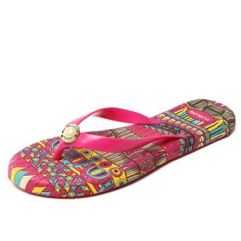 Women Fashion Casual Colourful Flat Non-slip Beach Shoes Flip Flops-Red - intl