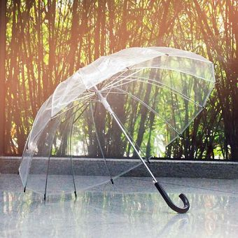 Harga Creative long-handled white transparent umbrella Straight Shank umbrella solid color umbrella stage props umbrella wedding advertising umbrella (Black curved handle)