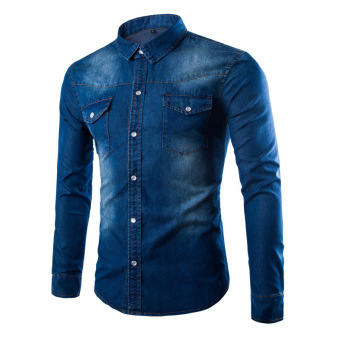 Fashion Men Jeans Shirt Leisure Slim Fit Casual Denim Shirts Long Sleeve - intl