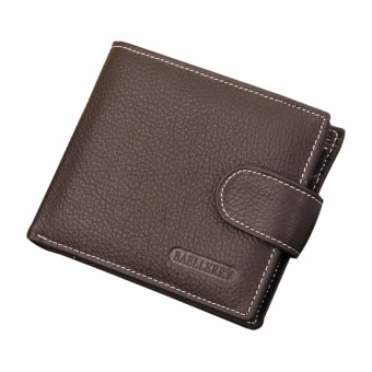 Harga Baellerry Genuine Cow Leather Men Wallets Short Style Hasp Male Purse Money Bag Cards Holder (Dark Brown) - intl