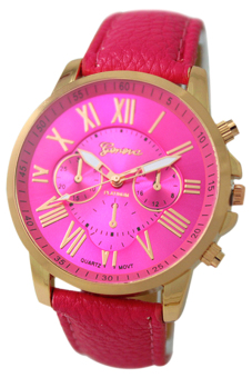 Harga BlueLans Geneva Roman Numerals Faux Leather Wrist Watch (Rose Red)