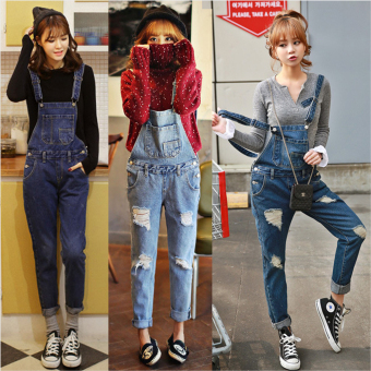 Harga Women Korean Holes Denim Jumpsuit Bib Trousers Rompers Casual Braces Overalls Pants (dark blue)