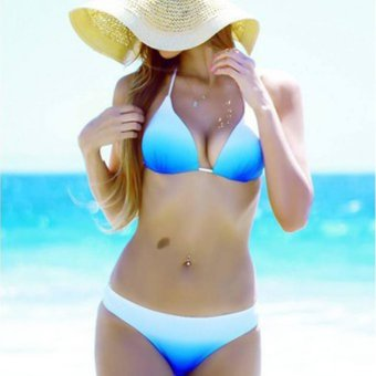 Hanyu Sexy Bikinis Set Summer Swimsuit Swimwear Beachwear(Blue White) - intl