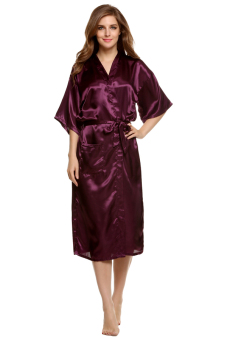 Harga Cyber Sexy Woman Silk Strappy Sleepwear Long Bath Robes Night Gown Pajamas