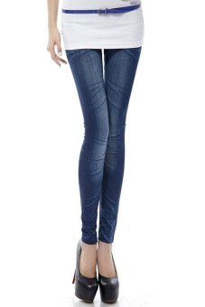 Harga Woman Elastic Tight Faux Denim Leggings (Blue)