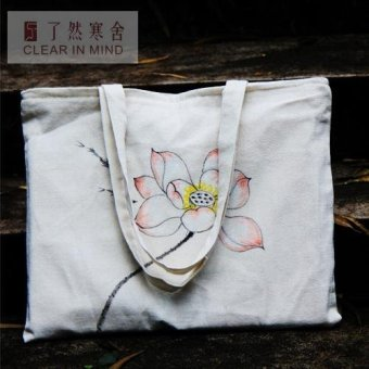 Harga Original zen hand painted lotus chinese style cotton cloth cloth handbag shoulder bag han chinese clothing bags