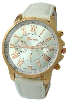 Harga BlueLans Geneva Roman Numerals Faux Leather Wrist Watch White