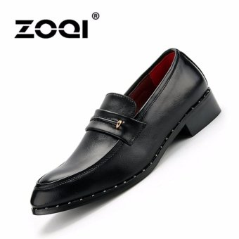 Harga ZOQI man's formal low cut Retro style advanced PU casuall Shoes(Black) - intl