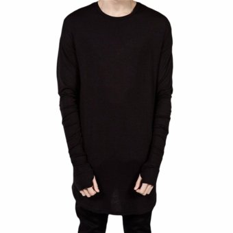 Harga Hequ hot selling Thumb Hole Cuffs Long Sleeve Tyga Swag Style Mens Side Split Hip Hop Top Black - intl