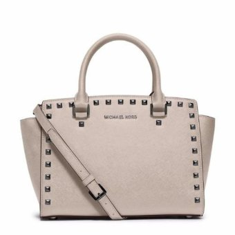 Harga Michael Kors Selma Stud Medium Saffiano Leather Satchel (Cement) - intl