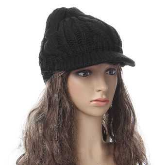 New Women Ladies Korean Winter Warm Crochet Knit Ski Beanie Wool Peaked Hat Cap Black - intl