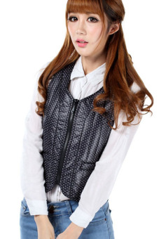 Harga Spring Autumn Polka Dots Slim Down Jacket Vest (Black)