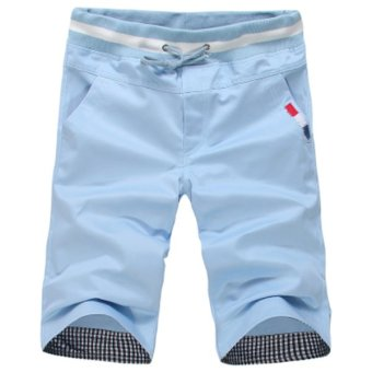 Harga Summer New Men's Casual Fashion Loose Beach Shorts(Sky Blue)