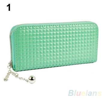 Sanwood Women Fashion Pure Color Faux Leather Clutch Wallet Purse (Green) - intl