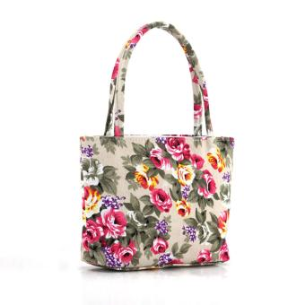 YBC Fashion Female Lovely Canvas Handbag Shoulder Beach Bag Printed Bags - Intl