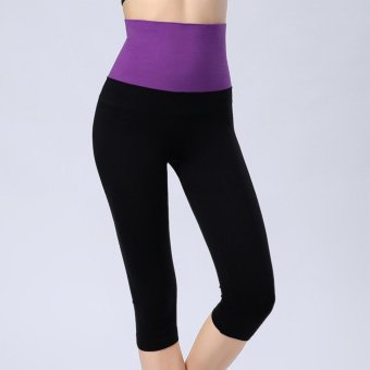 Harga 3/4 Length Women Sports Capri Pants Fitness Yoga Legging High Waist Elastic Body Shaper Black Purple - intl